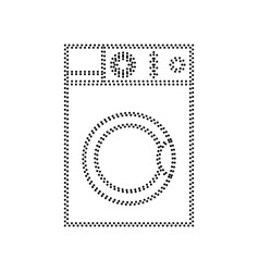 Washing machine sign black dotted icon on vector