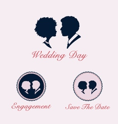 Wedding couple profile silhouette and cameo vector