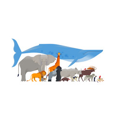 wild animal cartoon collection isolated background vector image