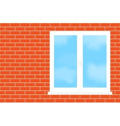 Window into a brick wall vector image