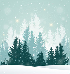 Winter snowy landscape with fir tree vector