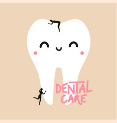 With cute smiling face white tooth and women vector