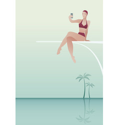 woman sitting on a trampoline taking a selfie vector image