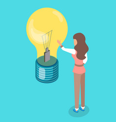 woman touch lamp bulb new creative idea concept vector image