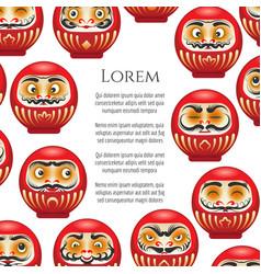 japanese red daruma dolls poster vector image vector image