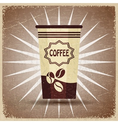 Plastic cup of coffee on a vintage background vector image vector image