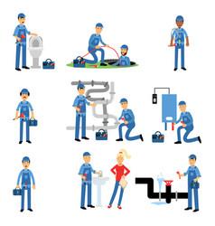 professional plumber at work set plumbing service vector image
