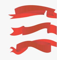 red ribbons horizontal vector image vector image
