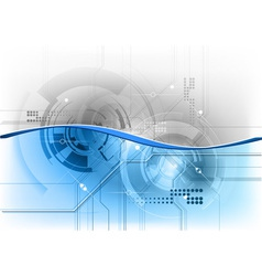 blue tech background with wave vector image