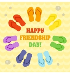 Card for Happy Friendship day Rainbow flip flops vector image vector image