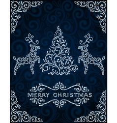 Christmas card with abstract pinetree and deers vector image vector image