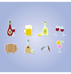 color set with alcohol icons vector image