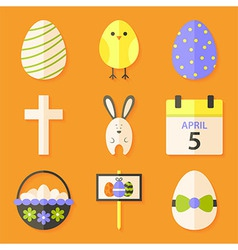 Easter icons set with shadows over orange vector image vector image