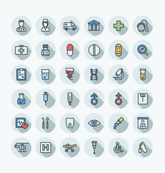 flat color thin line icons set with medical vector image vector image