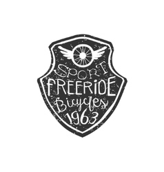 Freeride Vintage Badge With Winged Wheel vector image vector image