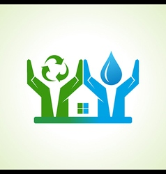 Hand with water drop and recycle icon make a home vector
