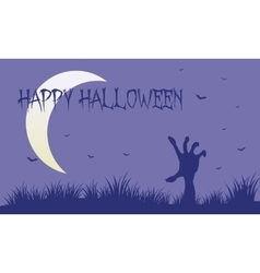 Hand zombie and moon silhouette vector image vector image