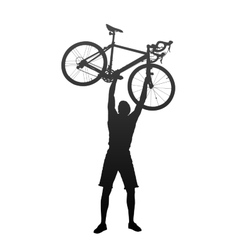 Silhouette of man with hands on racing bicycles vector image
