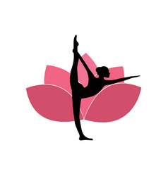 yoga woman silhouette pink lotus flower background vector image vector image