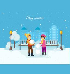 Boy and girl sculpt a snowman in good moo vector