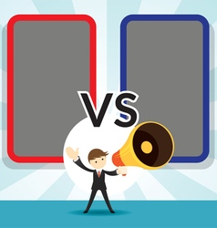 Businessman with Megaphone Announcement Versus vector image vector image