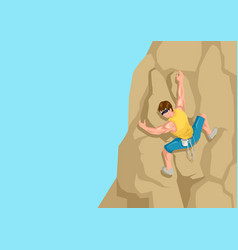 cartoon of a man climbing the rock vector image