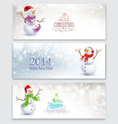 Christmas banners with snowmen vector image