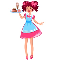 cute waitress vector image vector image