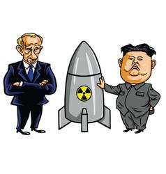 kim jong-un nuclear weapon with vladimir putin vector image