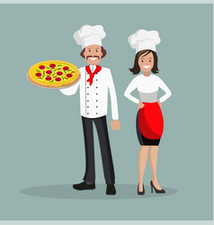 the chef is a man and a woman with pizza vector image