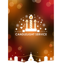 Christmas eve candlelight service invitation card vector