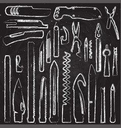 Hand draw set of multifunction knife elements vector