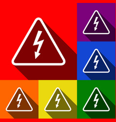 high voltage danger sign set of icons vector image