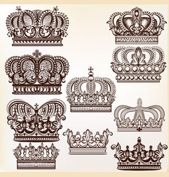 royal crowns for design vector image