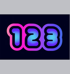 123 pink blue gradient number logo icon design vector