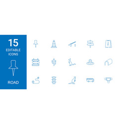 15 road icons vector