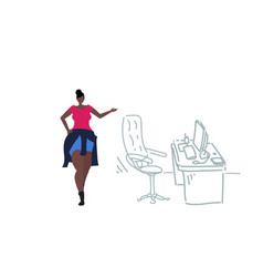 African american businesswoman pointing modern vector
