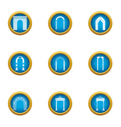 Alley icons set flat style vector