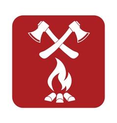 Ax and campfire icon vector