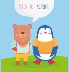 back to school cute bear and penguin students vector image