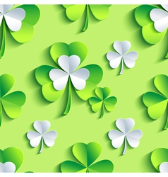 Background seamless pattern 3d Patrick leaf clover vector