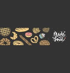 bakery horizontal banner cover lettering vector image