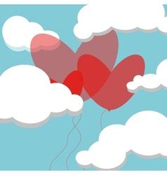 Baloon hearts in sky vector