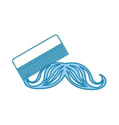 Barbershop comb with mustache vector