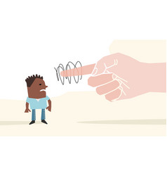 big hand pointing finger on a black man vector image
