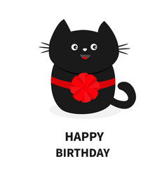 Black cat icon with round red bow cute funny vector
