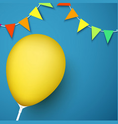 blue festive background with yellow balloon and vector image