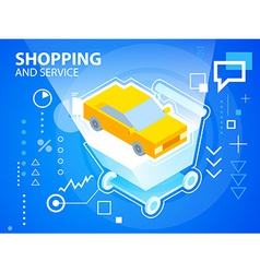 Bright shopping trolley and car on blue back vector