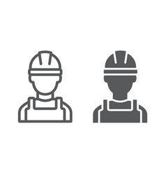 builder line and glyph icon engineer and man vector image