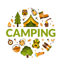 camping banner template with hiking equipment of vector image